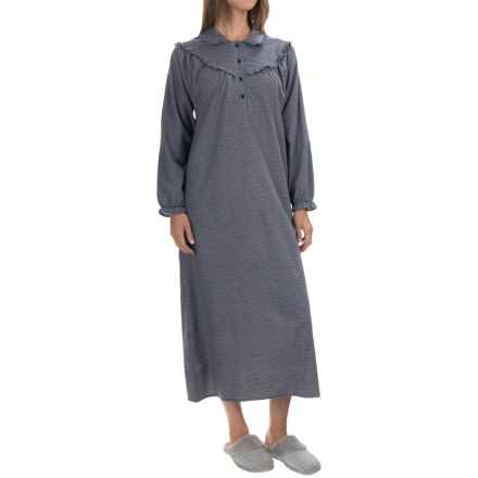 KayAnna Cotton Flannel Nightgown - Long Sleeve (For Women) in Navy - Closeouts
