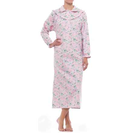 KayAnna Cotton Flannel Nightgown - Long Sleeve (For Women) in Pink Clair De Lune - Closeouts