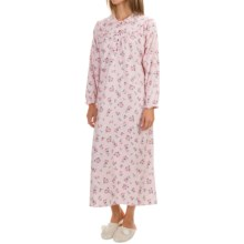 KayAnna Cotton Flannel Nightgown - Long Sleeve (For Women) in Pink Flowers - Closeouts
