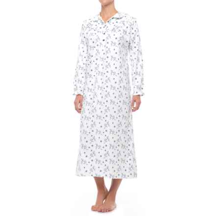 KayAnna Cotton Flannel Nightgown - Long Sleeve (For Women) in White Ashley - Closeouts