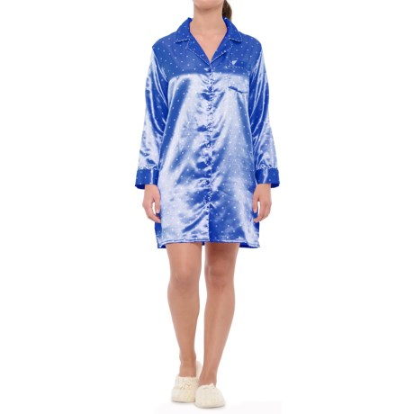 KayAnna Dots N' Stripes Nightshirt - Long Sleeve (For Women) in Blue Dots