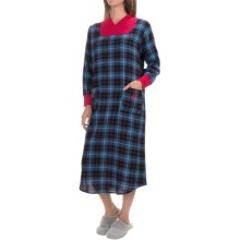 KayAnna Flannel Lounger Nightshirt - Long Sleeve (For Women) in Blue Plaid - Closeouts