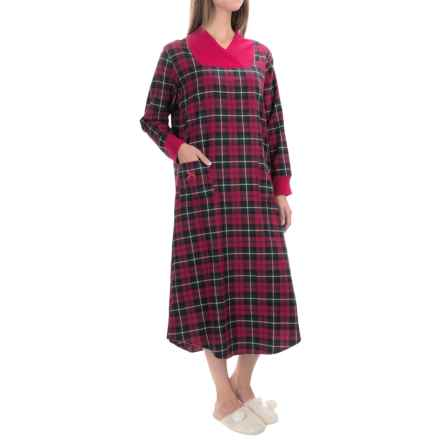 KayAnna Flannel Lounger Nightshirt - Long Sleeve (For Women) in Red Plaid - Closeouts