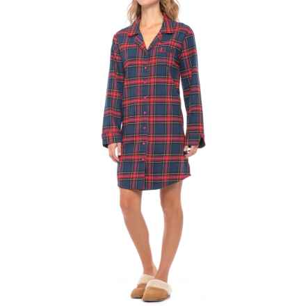 KayAnna Flannel Nightshirt - Long Sleeve (For Women) in Navy Plaid - Closeouts
