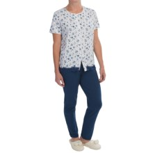 KayAnna Floral Pajamas - Cotton Jersey, Short Sleeve (For Women) in Navy - Closeouts