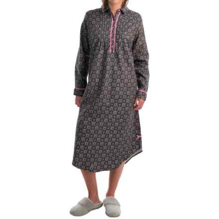 KayAnna Foulard Flannel Nightgown - Long Sleeve (For Women) in Castlerock - Overstock