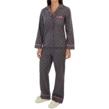 KayAnna Foulard Flannel Pajamas - Long Sleeve (For Women) in Grey - Closeouts