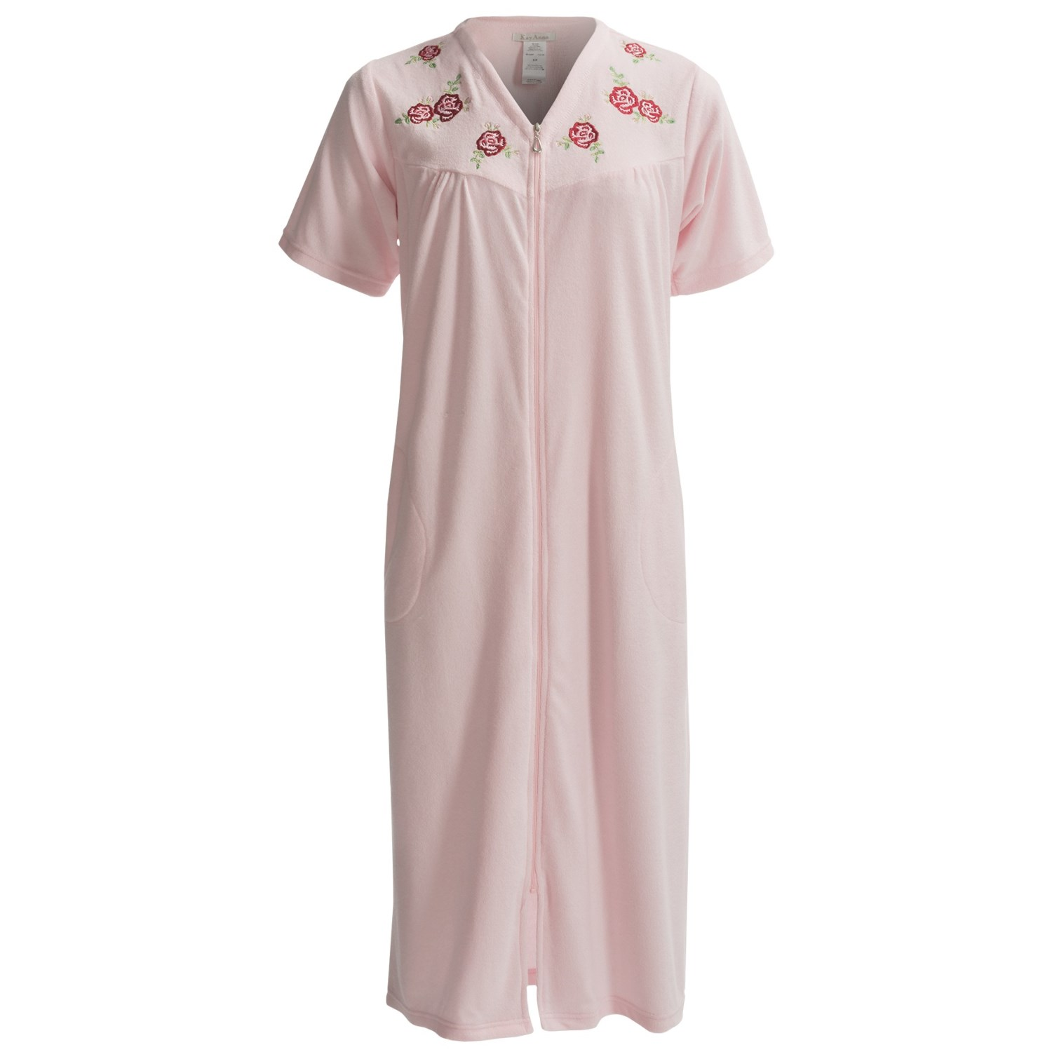 KayAnna Knit Terry Robe - Zip Front, Short Sleeve (For Women) in Pink
