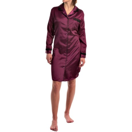 KayAnna Lace Trim Nightshirt - Brushed Back Satin, Long Sleeve (For Women) in Purple