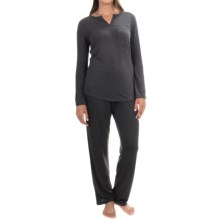 KayAnna Mimosa Pajamas - Long Sleeve (For Women) in Charcoal - Overstock