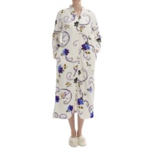 KayAnna Plush Floral Print Robe - Full Zip, Long Sleeve (For Women) in Ivory - Closeouts