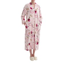 KayAnna Plush Floral Print Robe - Full Zip, Long Sleeve (For Women) in Pink - Closeouts