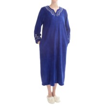 KayAnna Plush Robe - Full Zip, Long Sleeve (For Women) in Royal Blue - Closeouts