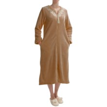 KayAnna Powder Velour Robe - Full Zip, Long Sleeve (For Women) in Bronze - Closeouts