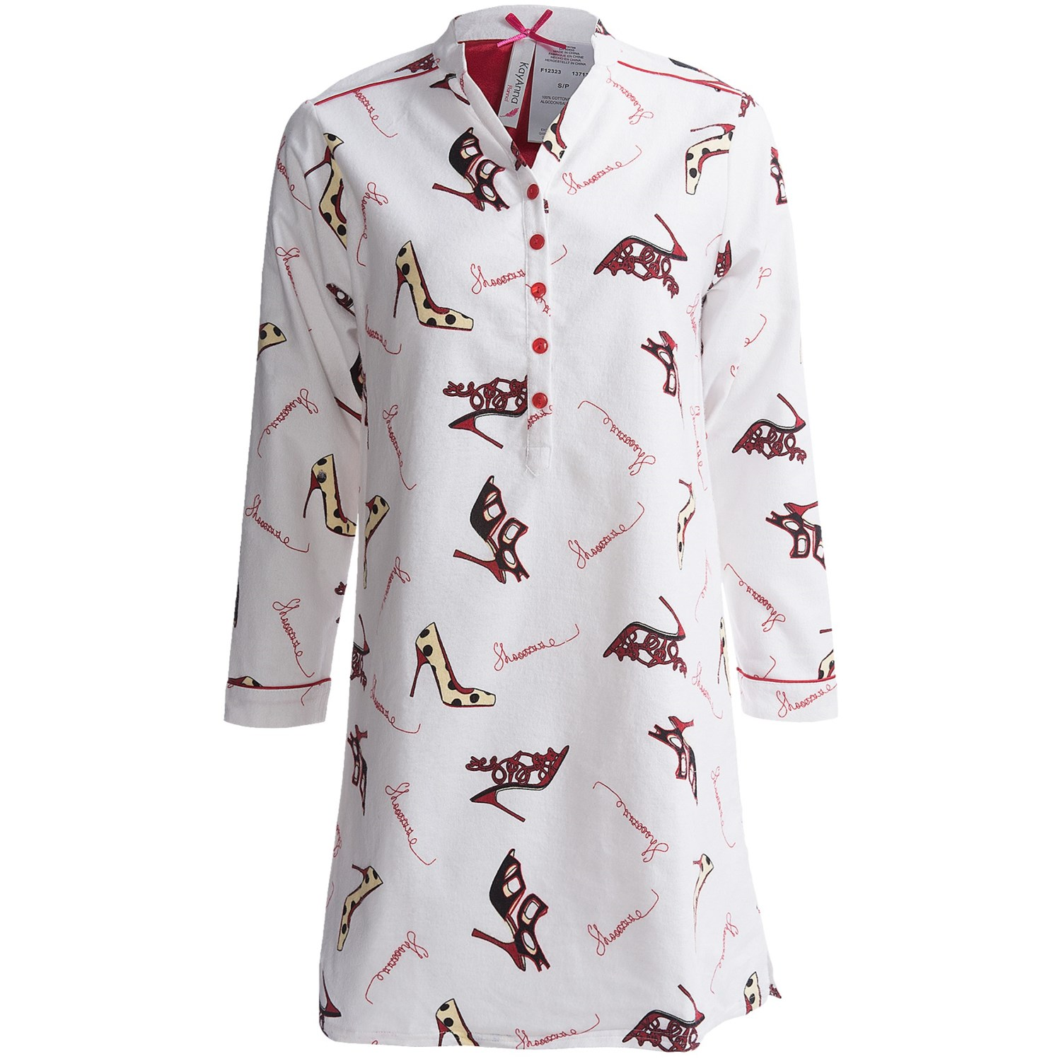 Kayanna printed flannel nightshirt long sleeve for for Womens flannel night shirts