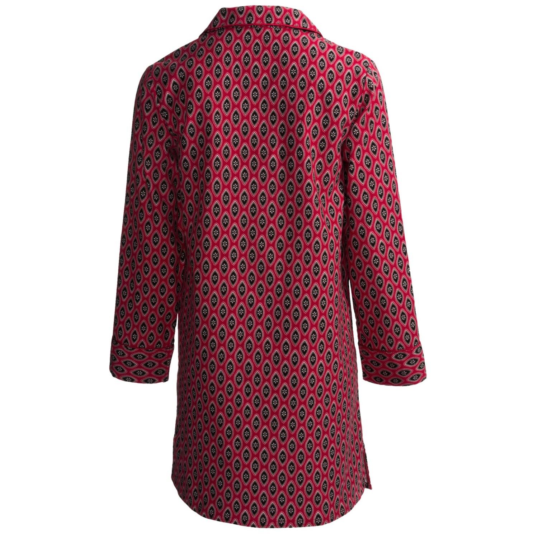 Kayanna printed flannel nightshirt for women save 66 for Womens flannel night shirts