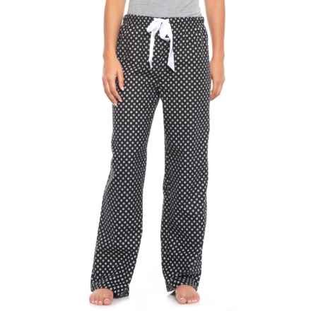 KayAnna Printed Flannel Pajama Bottoms - Cotton (For Women) in Black Snowflake - Closeouts