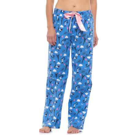 KayAnna Printed Flannel Pajama Bottoms - Cotton (For Women) in Blue Cats - Closeouts