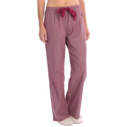 KayAnna Printed Flannel Pajama Bottoms - Cotton (For Women) in Burgandy Flower - Closeouts