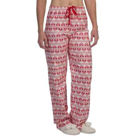 KayAnna Printed Flannel Pajama Bottoms - Cotton (For Women) in Hearts - Closeouts