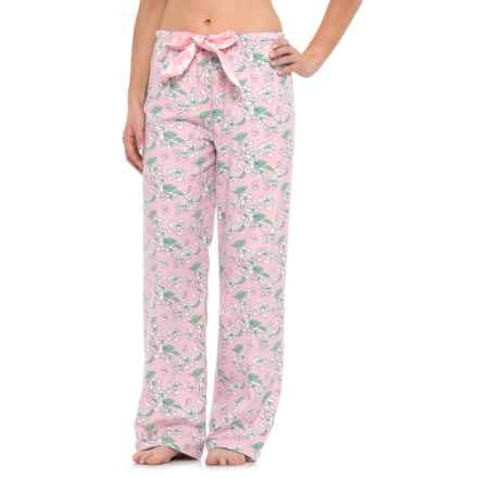 KayAnna Printed Flannel Pajama Bottoms - Cotton (For Women) in Light Pink Clair De Lune - Closeouts