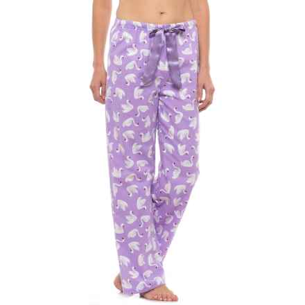 KayAnna Printed Flannel Pajama Bottoms - Cotton (For Women) in Lilac Swans - Closeouts