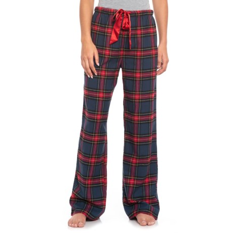 KayAnna Printed Flannel Pajama Bottoms - Cotton (For Women) in Navy Plaid
