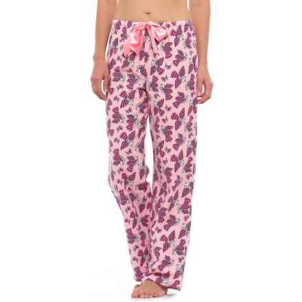KayAnna Printed Flannel Pajama Bottoms - Cotton (For Women) in Pink Birds - Closeouts