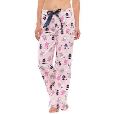 KayAnna Printed Flannel Pajama Bottoms - Cotton (For Women) in Pink Owls - Closeouts