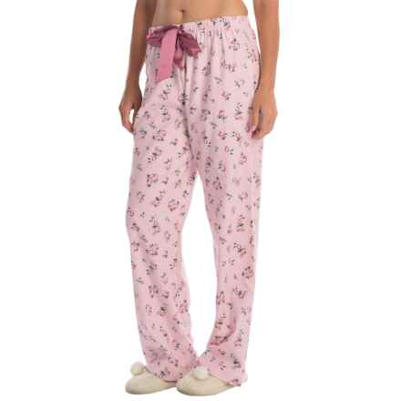 KayAnna Printed Flannel Pajama Bottoms - Cotton (For Women) in Pink - Closeouts