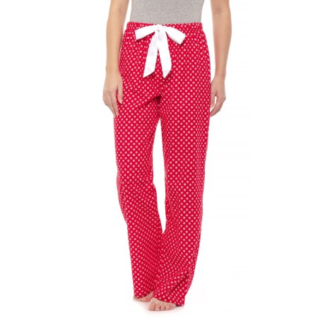 KayAnna Printed Flannel Pajama Bottoms - Cotton (For Women) in Red Snowflake 71967d362