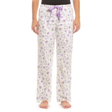 KayAnna Printed Flannel Pajama Bottoms - Cotton (For Women) in Sweetheart