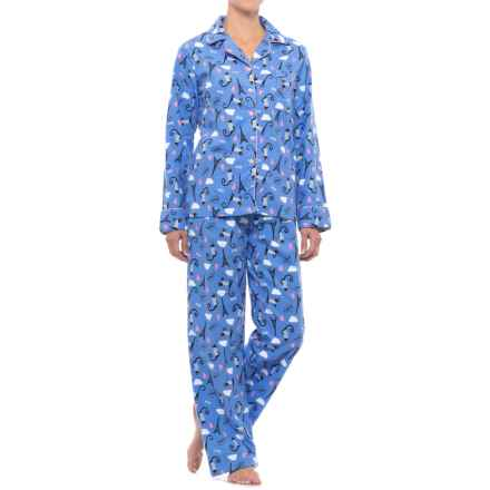 KayAnna Printed Flannel Pajama Set - Cotton, Long Sleeve (For Women) in Blue Cats - Closeouts