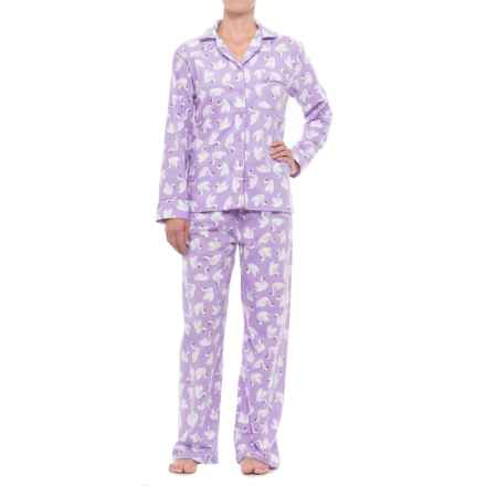 KayAnna Printed Flannel Pajama Set - Cotton, Long Sleeve (For Women) in Lilac Swans - Closeouts