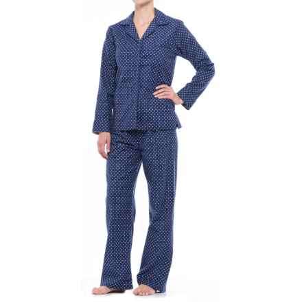 KayAnna Printed Flannel Pajama Set - Cotton, Long Sleeve (For Women) in Navy Diamonds - Closeouts