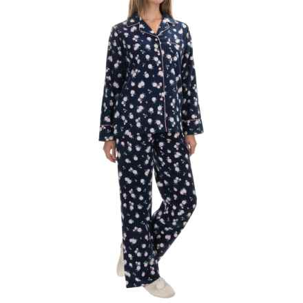 KayAnna Printed Flannel Pajama Set - Cotton, Long Sleeve (For Women) in Navy - Closeouts