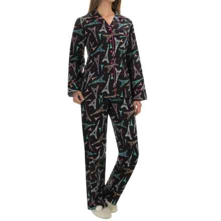 KayAnna Printed Flannel Pajama Set - Cotton, Long Sleeve (For Women) in Paris - Closeouts