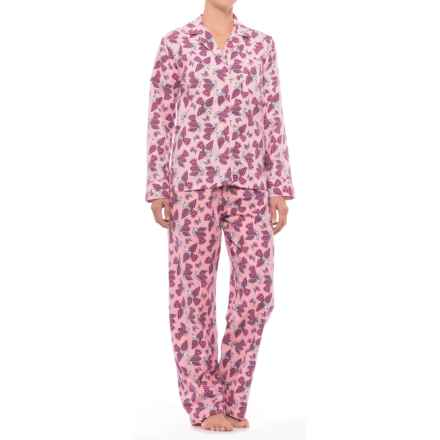 KayAnna Printed Flannel Pajama Set - Cotton, Long Sleeve (For Women) in Pink Birds - Closeouts
