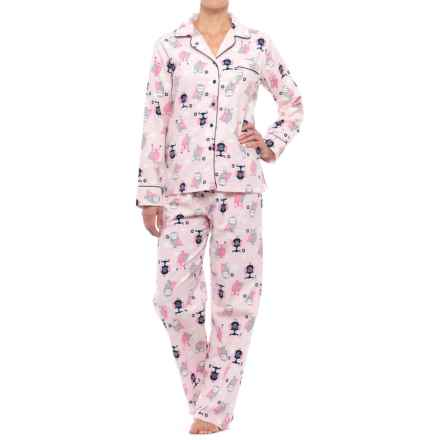 KayAnna Printed Flannel Pajama Set - Cotton, Long Sleeve (For Women) in Pink Owls - Closeouts