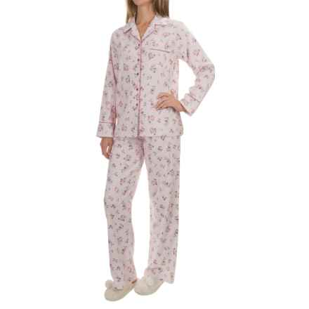 KayAnna Printed Flannel Pajama Set - Cotton, Long Sleeve (For Women) in Pink - Closeouts