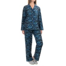 KayAnna Printed Flannel Pajamas - Cotton, Long Sleeve (For Women) in Birds Blue - Closeouts