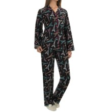 KayAnna Printed Flannel Pajamas - Cotton, Long Sleeve (For Women) in Paris - Closeouts