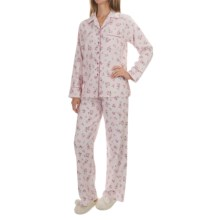KayAnna Printed Flannel Pajamas - Cotton, Long Sleeve (For Women) in Pink - Closeouts