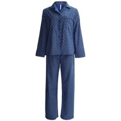 KayAnna Printed Flannel Pajamas - Cotton, Long Sleeve (For Women) in Royal Daisy Dot