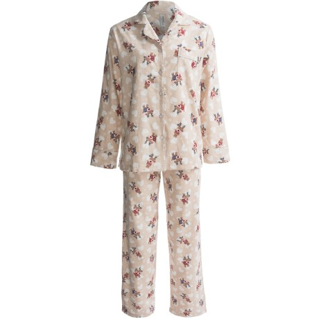 KayAnna Printed Flannel Pajamas - Cotton, Long Sleeve (For Women) in Sand Reindeer