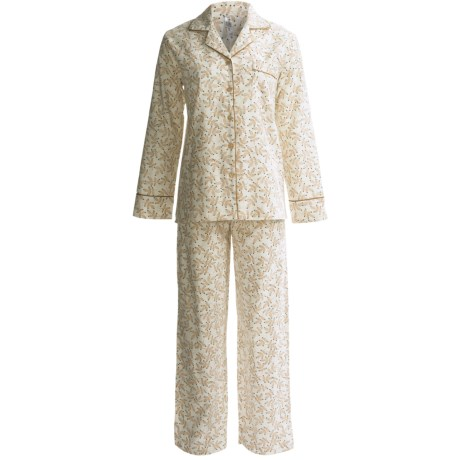 KayAnna Printed Flannel Pajamas - Cotton, Long Sleeve (For Women) in White Vines