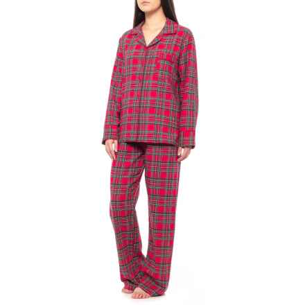 KayAnna Printed Flannel Pajamas - Long Sleeve  (For Women) in Red Plaid - Closeouts