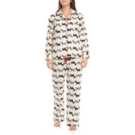 KayAnna Printed Flannel Pajamas - Long Sleeve  (For Women) in Scottie Dogs - Closeouts