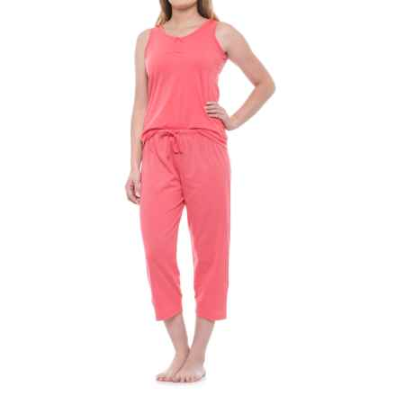 KayAnna Scrunch Front Tank and Capri Pajamas - Sleeveless (For Women) in Coral - Closeouts