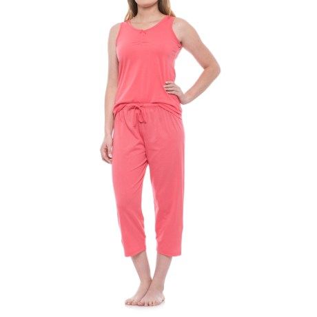KayAnna Scrunch Front Tank and Capri Pajamas - Sleeveless (For Women) in Coral
